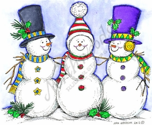 P8782 Snowman Trio With Top Hats