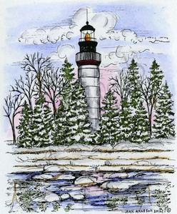 P8833 Lighthouse And Spruce Trees