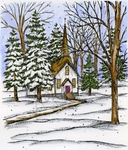 P8834 Church, Pines And Trees