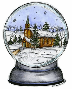 P8837 Church In Snowglobe