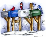 P8869 Winter Mailboxes With Winter Birds