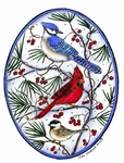 Blue Jay, Cardinal And Chickadee In Oval P8875