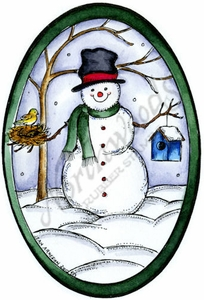 P8893 Snowman With Nest And Birdhouse Oval