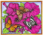 P8963 Three Butterflies On Petunia Frame