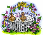 P8998 Helen's Basket Of Bunnies With Flowers