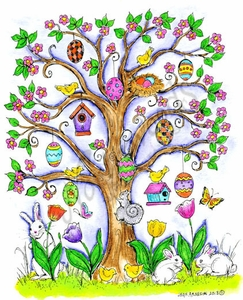 P9008 Spring Tree With Birds, Eggs And Squirrel