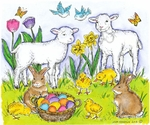 P9011 Two Lambs, Bunnies, Chicks And Basket
