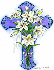 P9020 Cross With Lily Bouquet