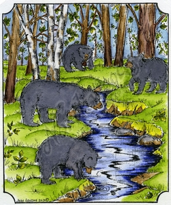 P9044 Bears By Stream In Single Notched Frame