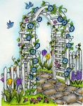 P9069 Spring Trellis With Morning Glories