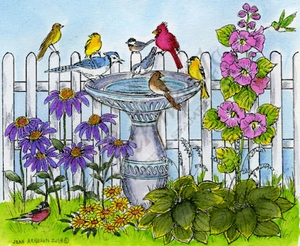 P9071 Bird Bath With Birds, Flowers And Fence