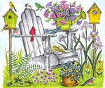 P9073 Spring Chair With Birds, Birdhouses And Flowers