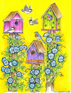 P9080 Three Birdhouses With Morning Glories And Birds