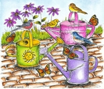 P9081 Three Watering Cans With Birds And Butterflies