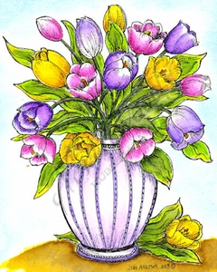 P9087 Tulips In Ornamental Vase