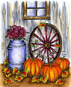 P9194 Milk Can, Wagon Wheel And Pumpkins