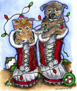 P9252 Cat And Dog In Holiday Boots