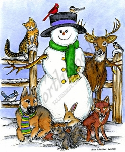 P9298 Snowman With Animal Friends