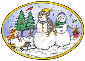 P9300 Snowmen And Birds With Sled In Oval