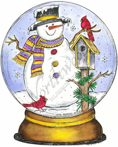 P9301 Snow Globe With Snowman, Birdhouse And Cardinals