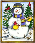 P9304 Snowman, Birds And Spruce In Rectangle Frame