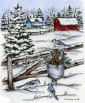 P9350 Blue Jay On Fence Post Farm Scene