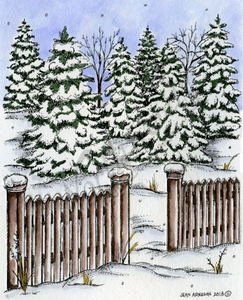 P9353 Spruce And Picket Fence
