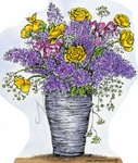 P9482 Ranunculus And Lilac Vase