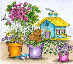 P9484 Floral Pots, Watering Can And Birdhouse