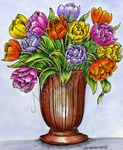 P9487 Double Tulips In Vase