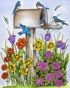 P9494 Spring Mailbox With Blue Birds, Daffodils And Tulips