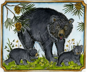 P9514 Bear And Cubs In Notched Rectangle