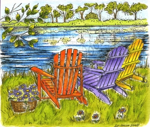 P9544 Three Adirondack Chairs And Lake