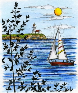 P9548 Sailboat And Lighthouse With Leafy Tree