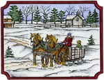 P9630 Winter Sleigh In Notched Rectangle Frame