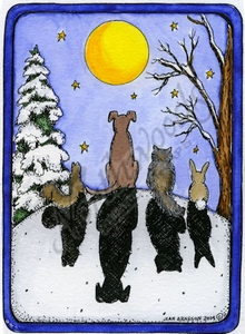P9631 Moonlight Animals In Rectangle Frame