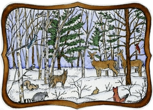 P9633 Woodland Animals In Curved Frame