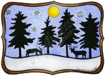 P9639 Solid Pines And Deer In Curved Frame