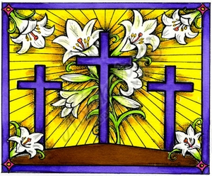 P9716 Three Crosses And Lilies In Frame