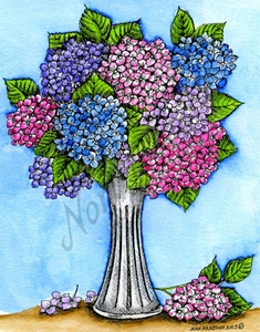 P9760 Hydrangeas In Narrow Vase