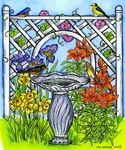 P9765 Spring Trellis With Bird Bath