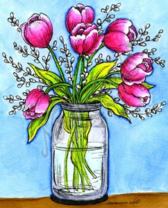 P9766 Tulips And Pussywillows In Mason Jar