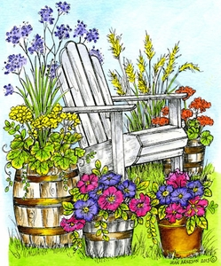 P9772 Adirondack Chair And Floral Pots