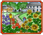 P9788 Sunflowers And Hollyhocks With House In Notched Rectangle