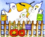 P9817 Three Trick Or Treat Ghosts With Picket Fence