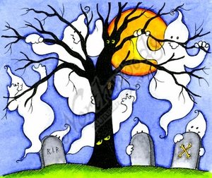 P9820 Ghost Family With Spooky Tree And Gravestones
