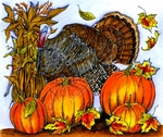 P9836 Turkey With Corn Stalks, Leaves And Pumpkins