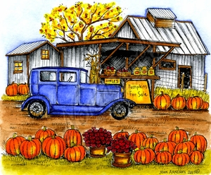 P9837 Old Car By Store With Pumpkins
