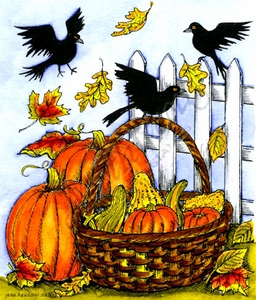 P9838 Pumpkins, Gourd Basket And Crows
