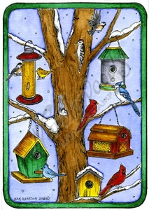 P9858 Winter Birds, Birdhouses And Tree In Rectangle Frame